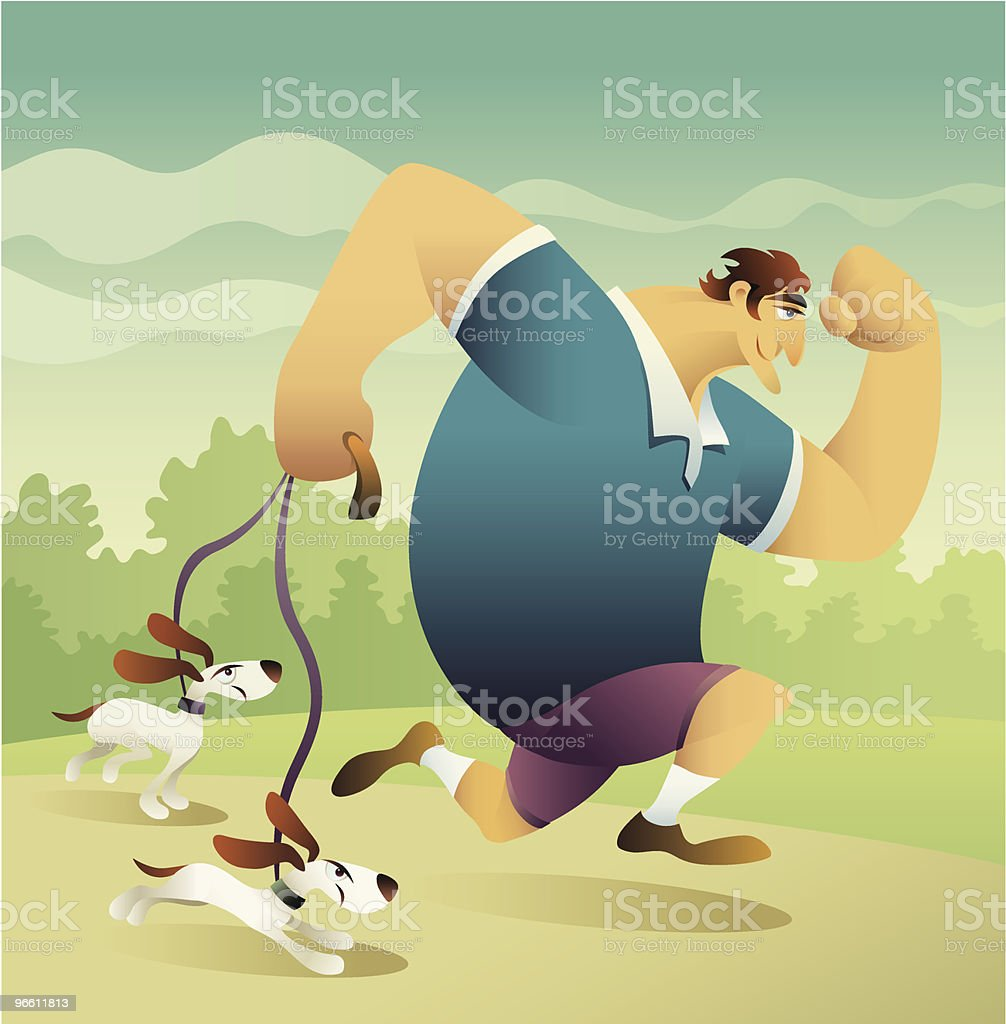running with dogs - Royalty-free Actieve levenswijze vectorkunst