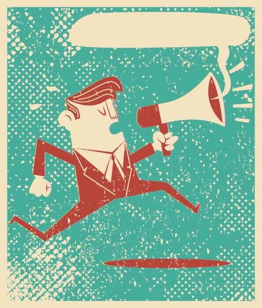 Running with megaphone Meen Running with megaphone in retro style good news stock illustrations