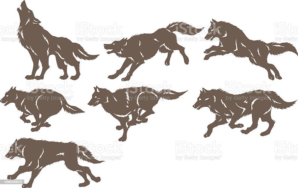 Running wolves vector art illustration