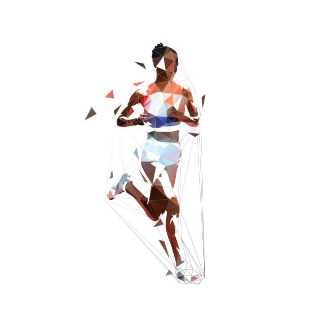 stockillustraties, clipart, cartoons en iconen met running vrouw, abstracte laag veelhoekige geïsoleerde vector illustratie. geometrische african american runner, zijaanzicht - atlete