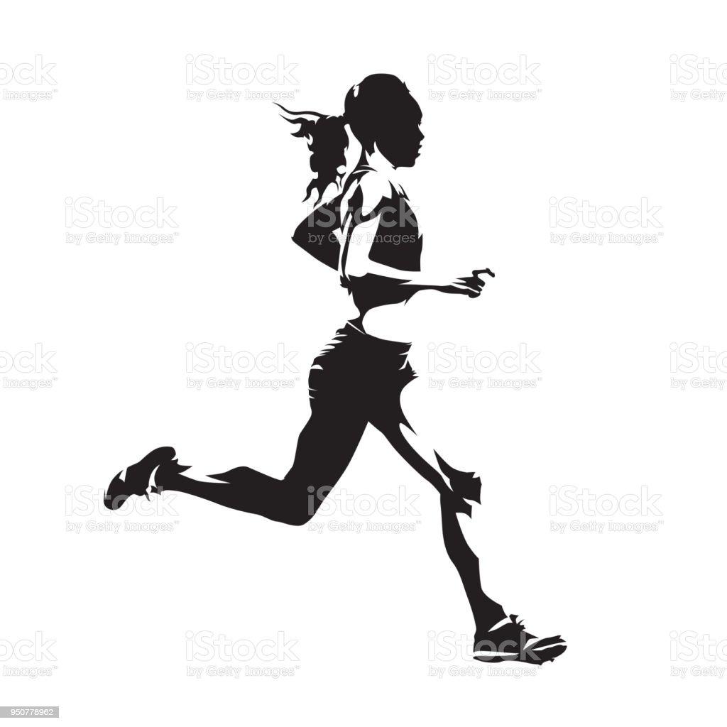 Mujer corriente, silueta de vector abstracto, vista lateral - ilustración de arte vectorial