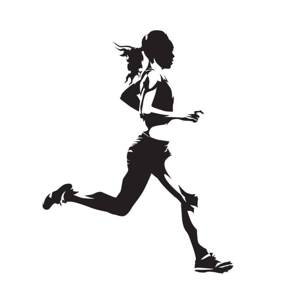 stockillustraties, clipart, cartoons en iconen met running vrouw, abstract vector silhouet, zijaanzicht - atleet