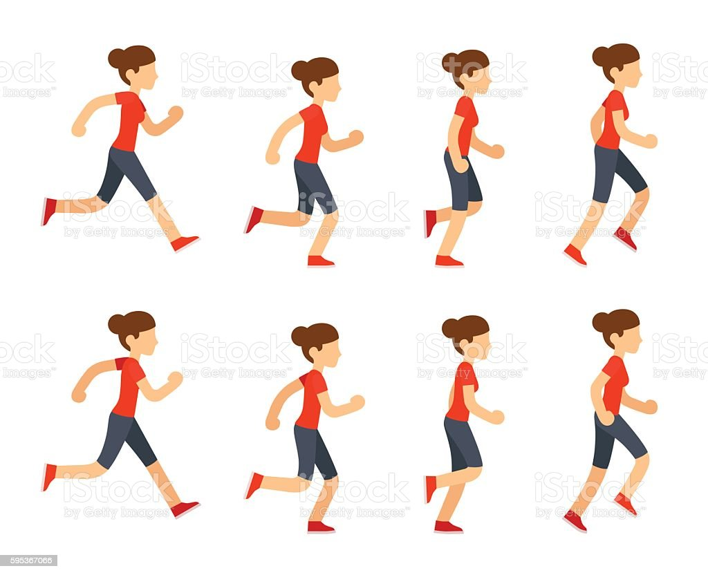 Running woman animation vector art illustration