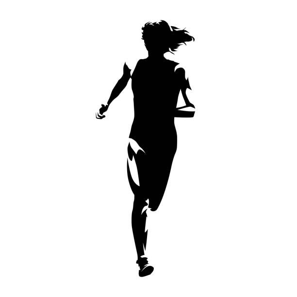 running woman, front view abstract isolated vector silhouette. run - young women stock illustrations