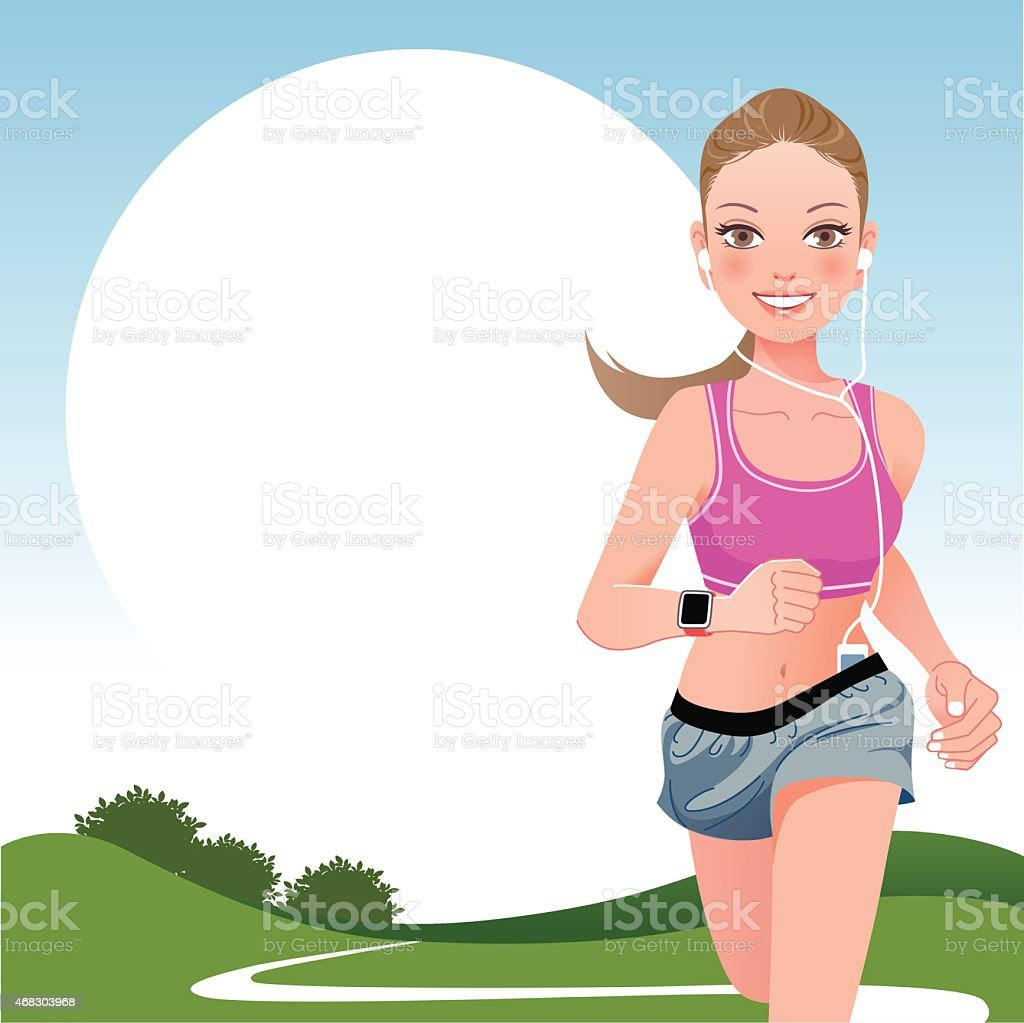 Running woman in country side vector art illustration