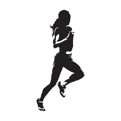 Running woman, isolated vector silhouette. Run, heathy lifestyle