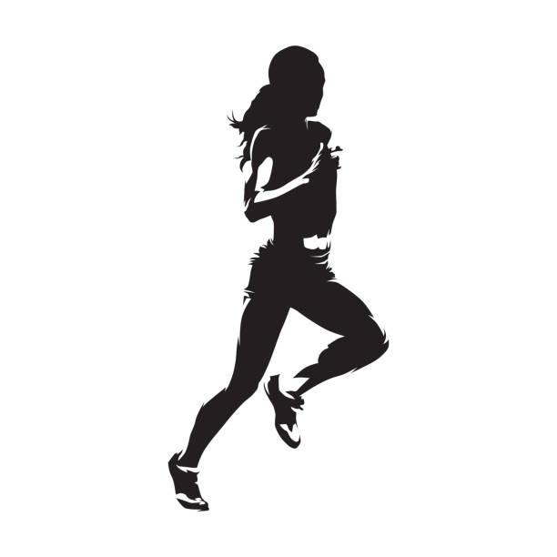 stockillustraties, clipart, cartoons en iconen met running vrouw, geïsoleerde vector silhouet. lopen, heathy lifestyle - sportman