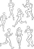 Vector line illustrations of women jogging. One of a series.