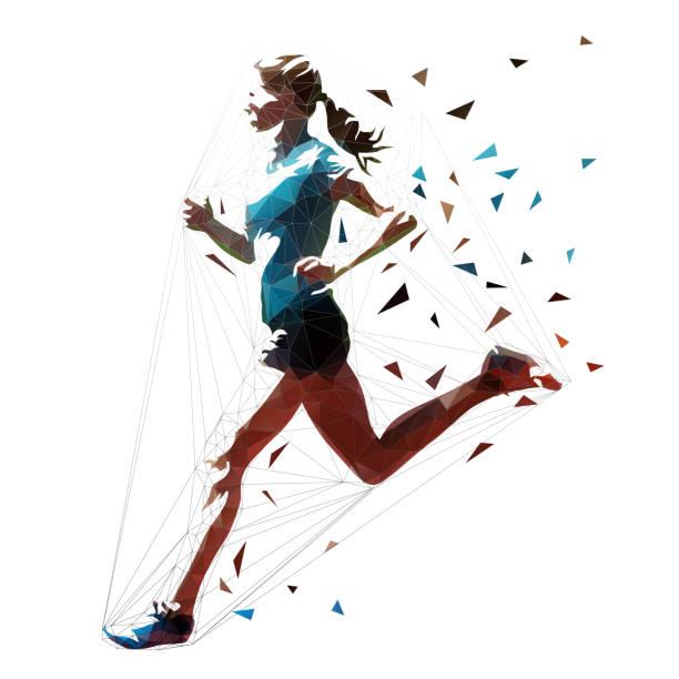 illustrations, cliparts, dessins animés et icônes de femme en cours d'exécution, athlète polygonale faible. illustration vectorielle isolée, vue latérale - running