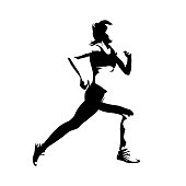 Running woman, side view, isolated vector silhouette. Active girl. Ink drawing