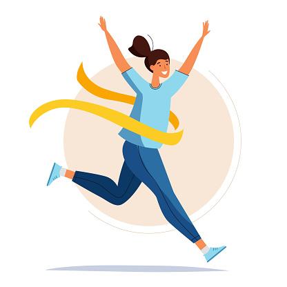 Running woman. Female crossing the finish line. Cartoon flat style.