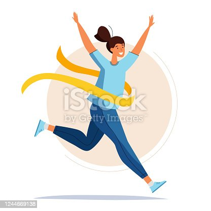 Running woman. Female crossing the finish line. Cartoon flat style.