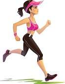 Young Woman Jogging Outdoors - Vector Illustration.