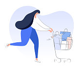 Running woman with purchases carrying a trolley cart full of groceries, bags, purchases, sales concept. Modern flat vector on white.