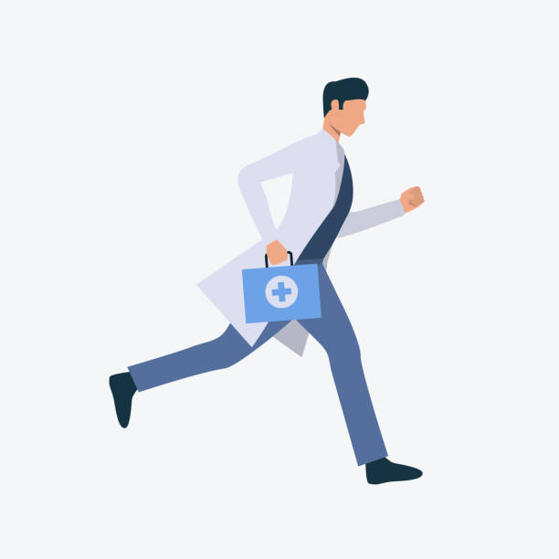 Running young doctor Running young doctor. Professional, medicine, clothing. Can be used for topics like professional, working, job, hospital male nurse stock illustrations