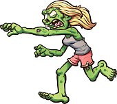 Female cartoon running zombie. Vector clip art illustration with simple gradients. All in a single layer.