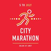Cool concept for city marathon announcement, advertisement, poster or emblem. Running character with the business text. Vector design.