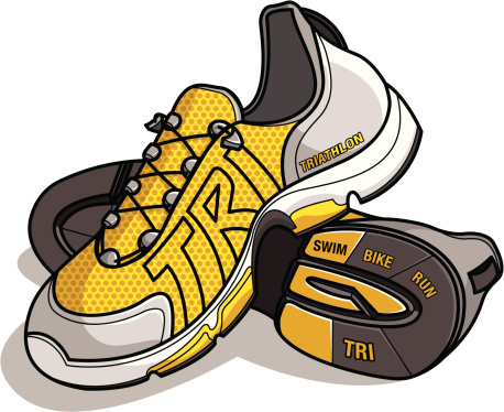 Running/Triathlon shoes with TRI as the logo stitching
