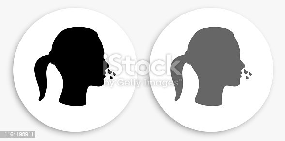 Runny Nose Black and White Round Icon. This 100% royalty free vector illustration is featuring a round button with a drop shadow and the main icon is depicted in black and in grey for a roll-over effect.