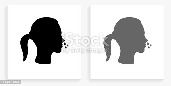 Runny Nose Black and White Square Icon. This 100% royalty free vector illustration is featuring the square button with a drop shadow and the main icon is depicted in black and in grey for a roll-over effect.