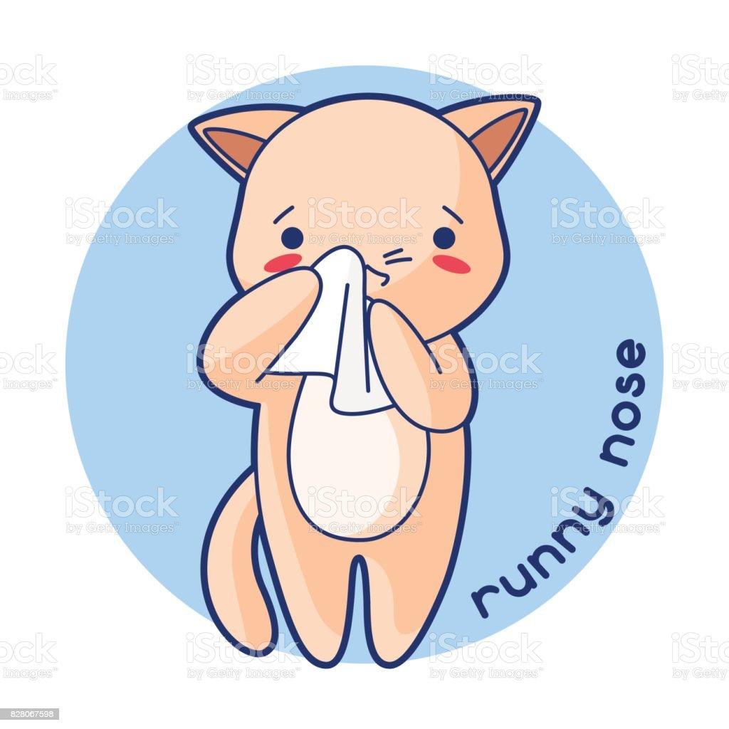 Laufende Nase Krank Niedlichen Kätzchen Außenillustration Kawaii ...