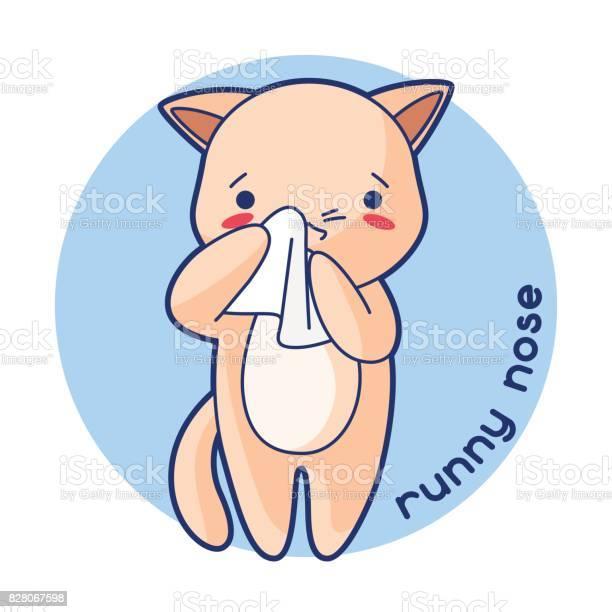 Runny nose sick cute kitten illustration of kawaii cat vector id828067598?b=1&k=6&m=828067598&s=612x612&h=6dx9kajlwyx2wxpwcbicltmjdzud8jwq94gmjqx0w q=