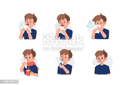 Kid Character Sneezing and Coughing. Boy Have Respiratory Disease with Runny Nose Symptoms. Flu Virus and Infection. Hygiene and Treatment Concept. Flat Cartoon Vector Illustration.