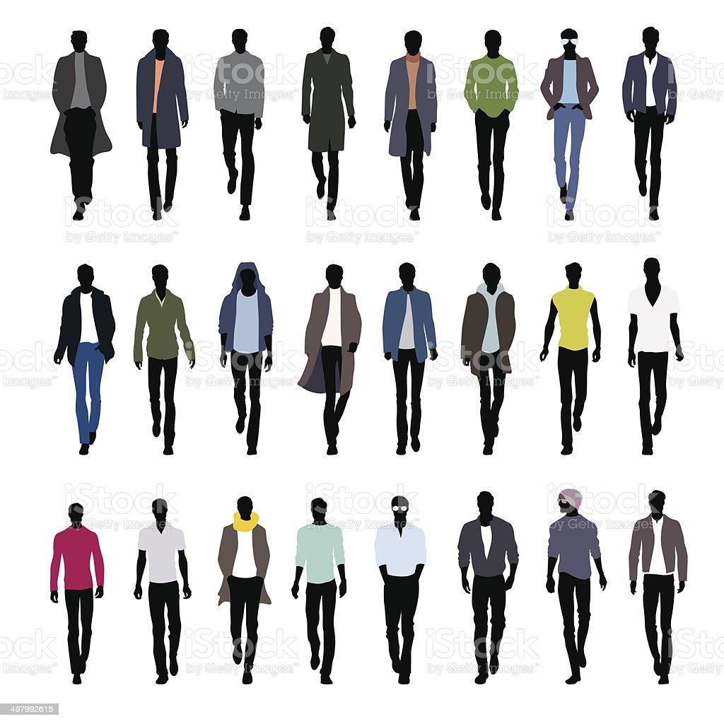 Runway men vector art illustration