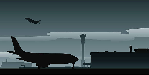 Runway Taxi A cartoon jet taxis on an airport runway. airport silhouettes stock illustrations