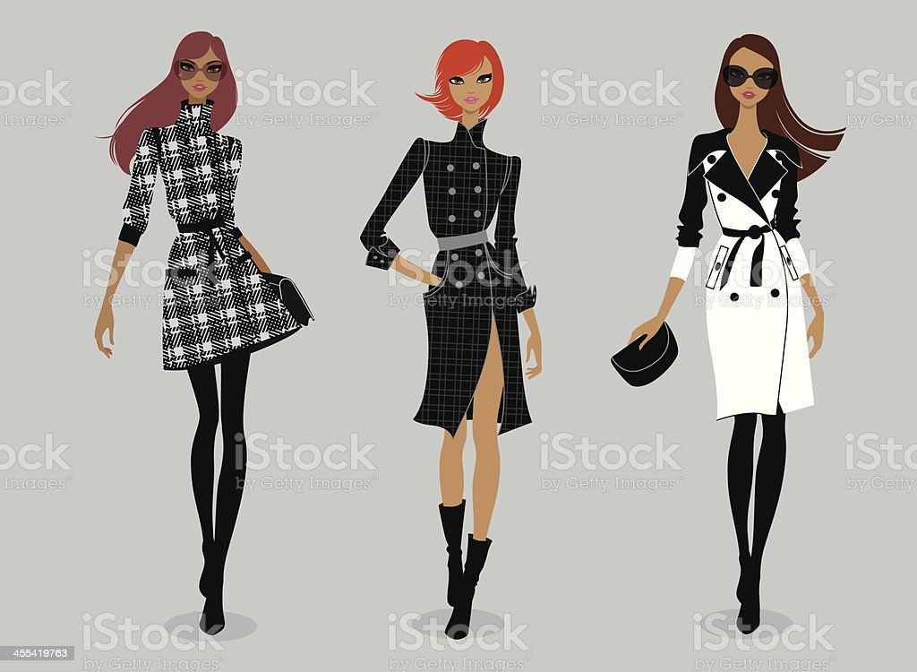 Runway (trench coat) vector art illustration