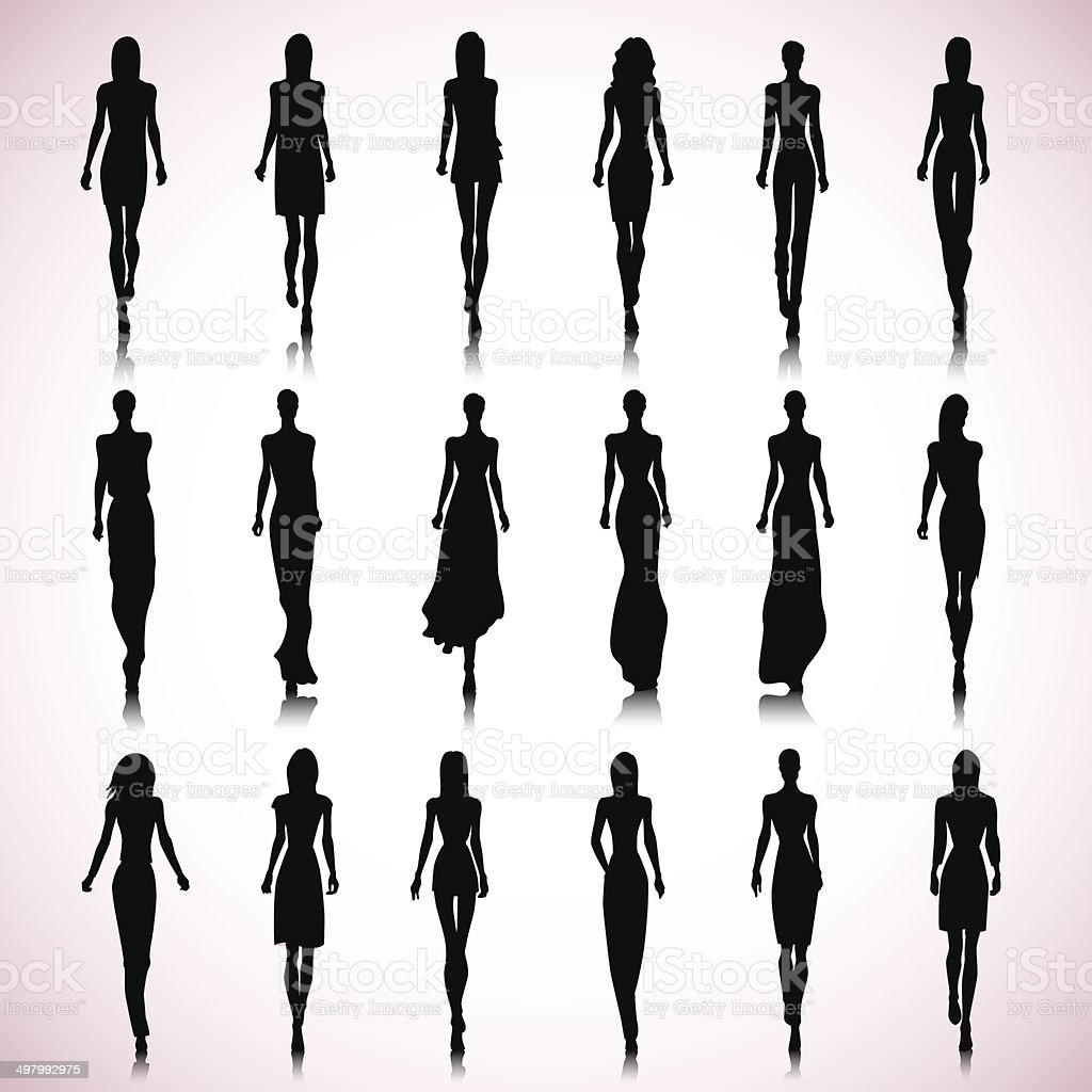 Runway women vector art illustration