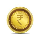 Rupee Currency Sign Circular Vector Gold Web Icon Button