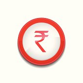 Rupee Currency Sign Circular Vector Red Web Icon Button