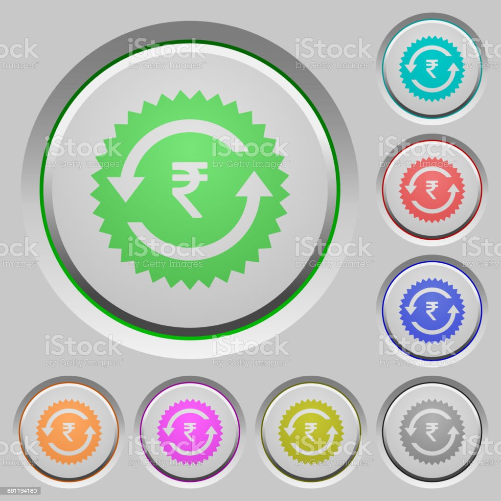 Rupee pay back guarantee sticker push buttons vector art illustration