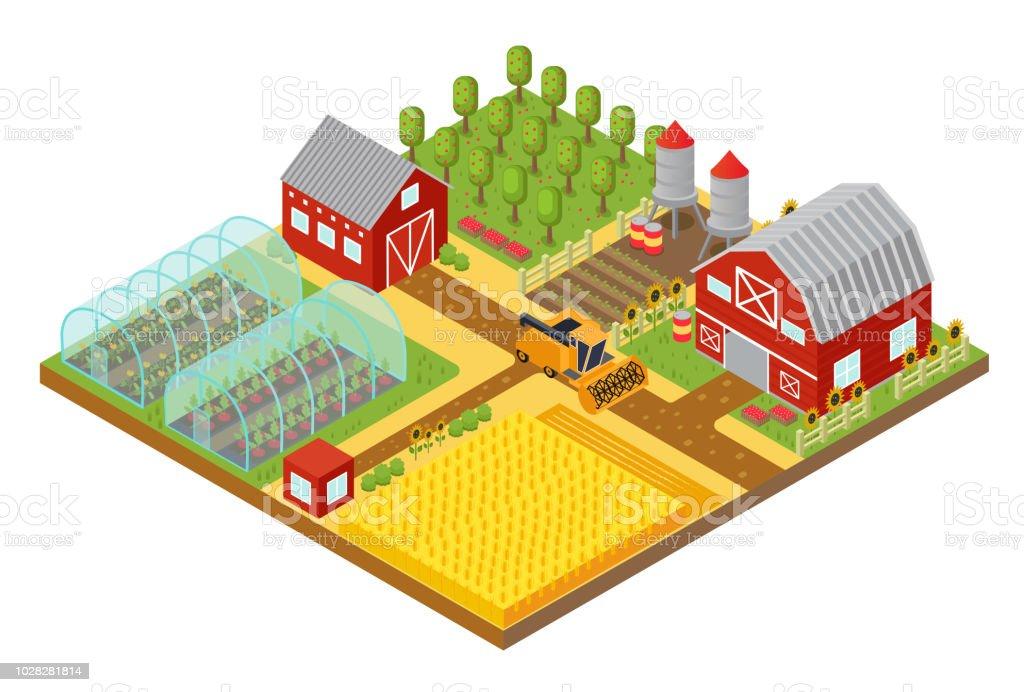 Dem Bauernhof Landlichen 3d Isometrische Vorlage Mit Garten Feld