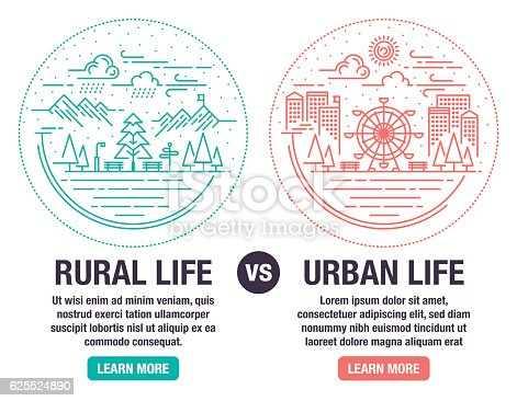 Infographic Difference Between Urban and Rural Life.