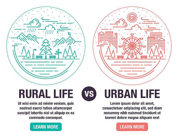 rural and urban life - städtische mode stock-grafiken, -clipart, -cartoons und -symbole