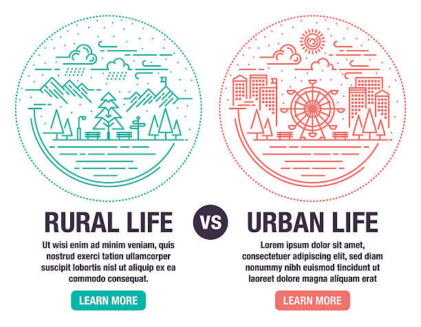 Rural And Urban Life vector art illustration