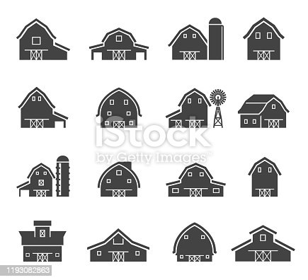 Rural barn building silhouettes glyph icons set. Farmyard architecture negative space symbols. Farm barns with water towers isolated on white background. Farm sheds, wind pump and silo pictograms
