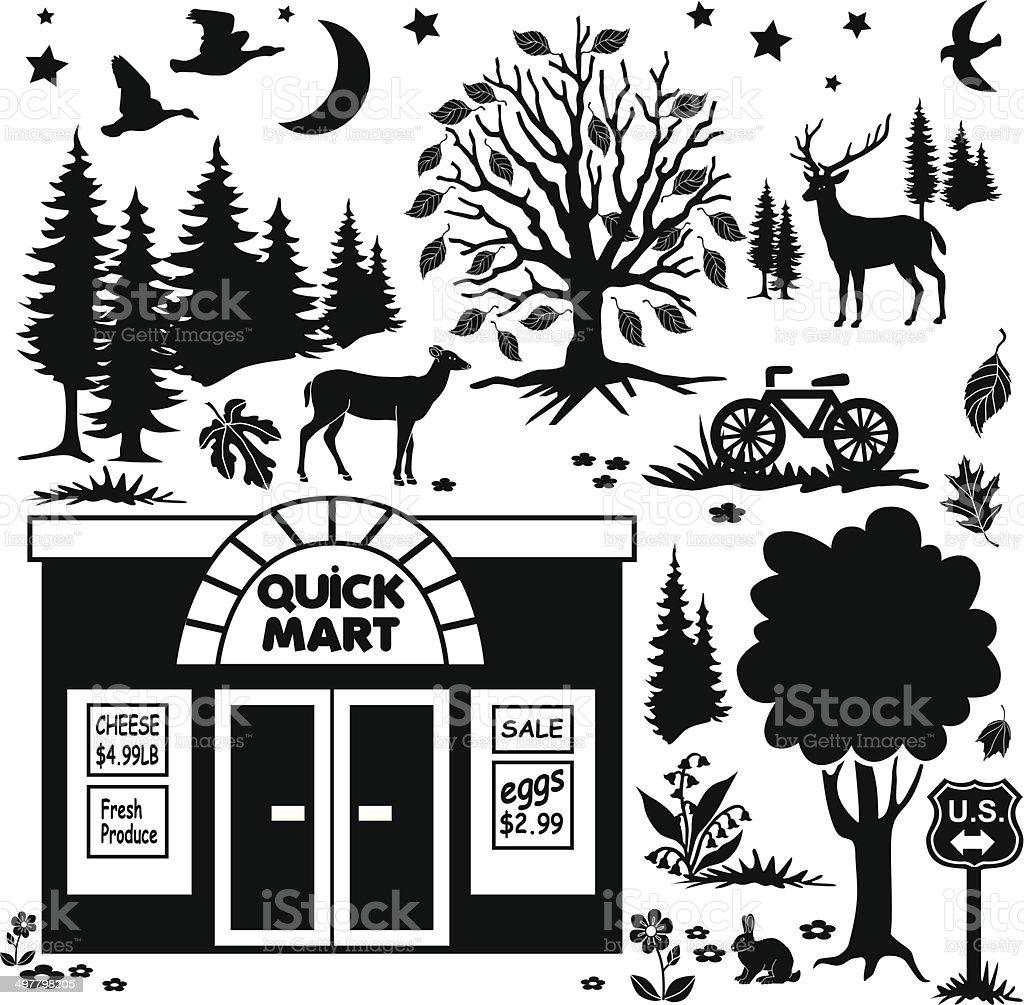 rural convenience store in Autumn design elements royalty-free rural convenience store in autumn design elements stock vector art & more images of animal wildlife
