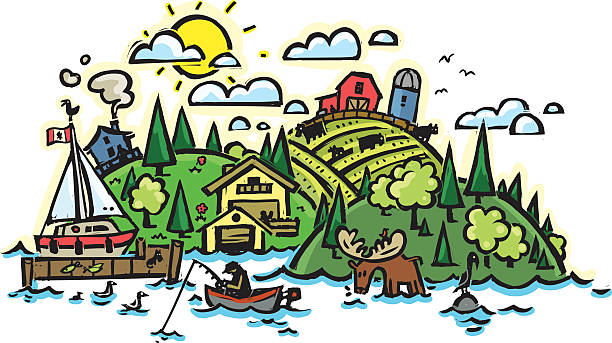 Rural country side vector art illustration