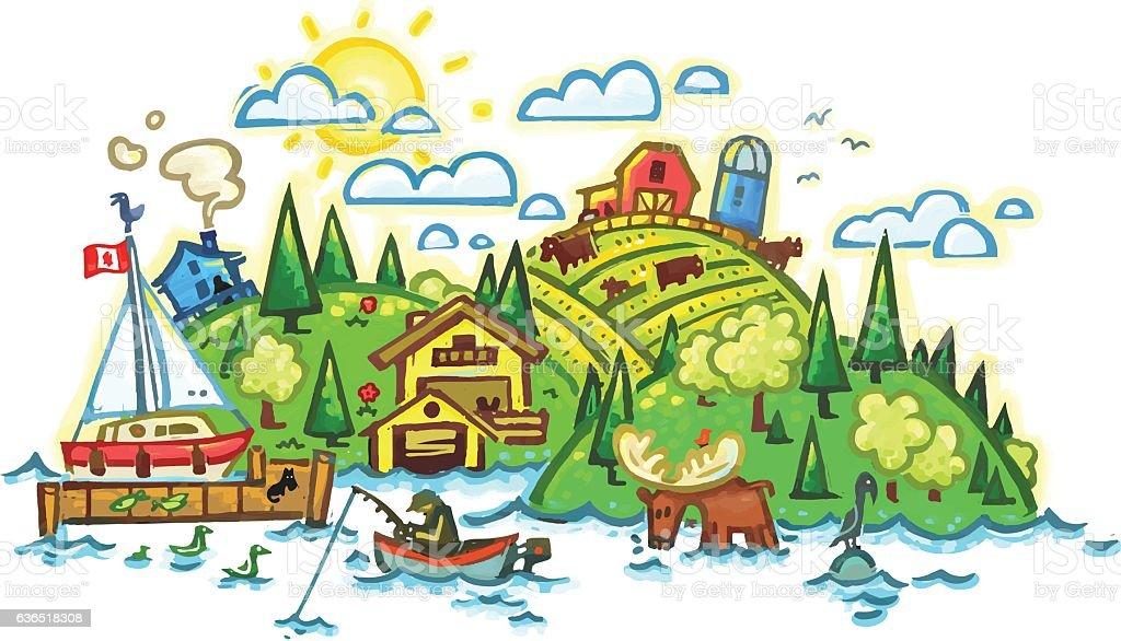 Rural country side vector art illustration