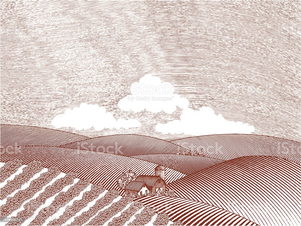 Rural Farm Scene royalty-free stock vector art