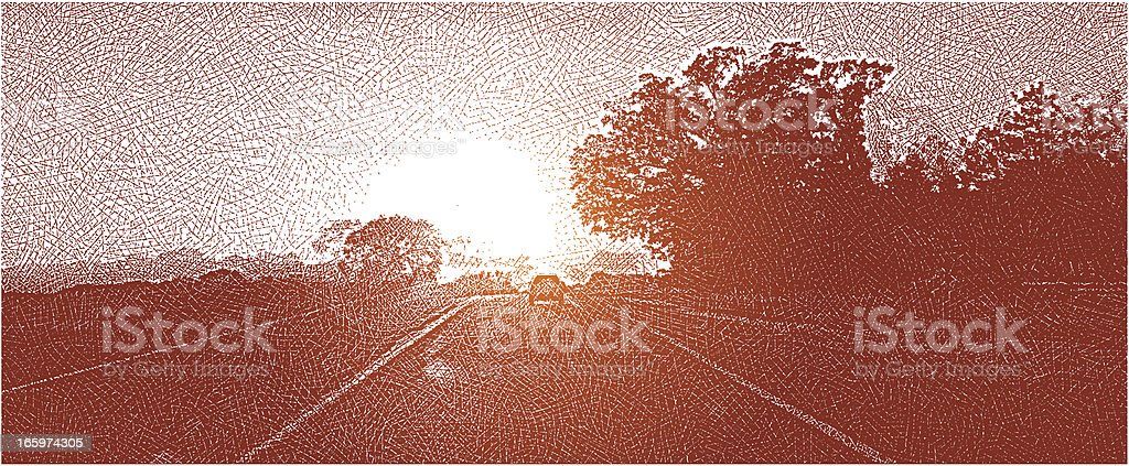 Rural Highway Sunset. Road Trip royalty-free rural highway sunset road trip stock vector art & more images of anticipation