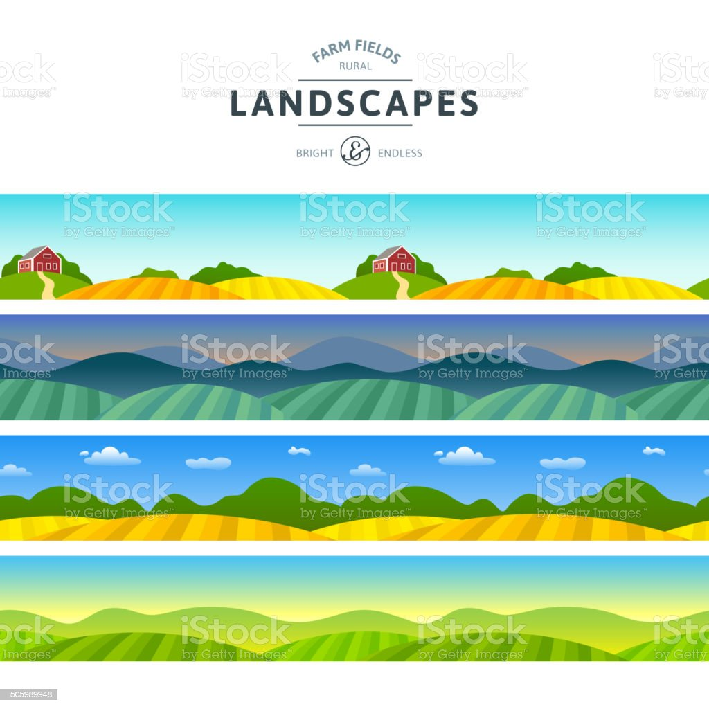 Rural Vue horizontale - Illustration vectorielle