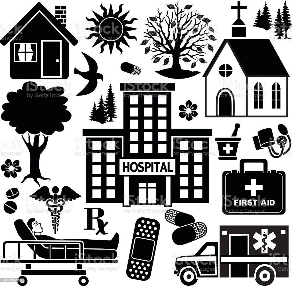 rural hospital design elements vector art illustration