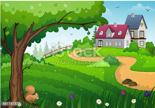 Rural landscape with green meadow, tree and buildings