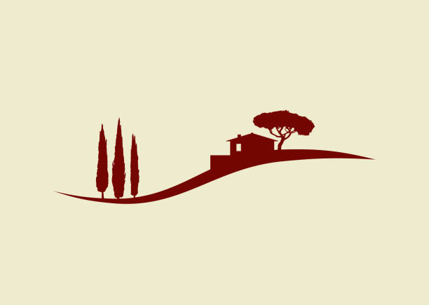rural italian tuscany vector silhouette landscape illustration with cypress trees and cottage rural tuscany vector silhouette landscape icon with cypress trees and cottage and pine tree villa stock illustrations