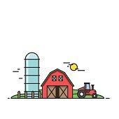 Rural landscape. Agriculture and Farming illustration. Design elements for website