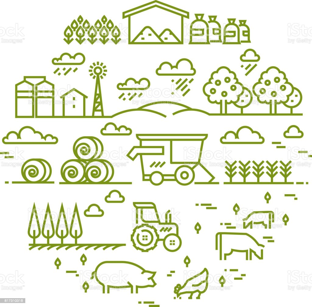 Rural landscape and agriculture farming thin line icons - illustrazione arte vettoriale